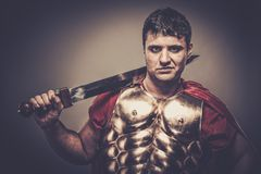 Roman legionary soldier. Legionary soldier with a sword Stock Images