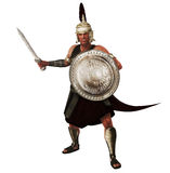 Roman Legionnaire. 3d rendered illustration of a warrior in Roman armor poised for battle Royalty Free Stock Photos