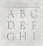 Roman letters chiseled in marble stone. Vector illustration Stock Photo