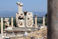 Roman Marble Ruins in Ephesus - Turkey. Roman ancient ruins of statues and olumns in Ephesus - Turkey Stock Photo