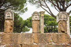 Roman masks in the old town of Ostia, Rome, Italy Royalty Free Stock Image
