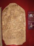 Roman Memorial Carving utställning i stadsmuseet i Lancaster England i mitten av staden royaltyfri bild