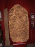 Roman Memorial Carving utställning i stadsmuseet i Lancaster England i mitten av staden arkivbilder