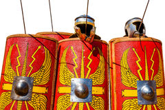 Roman miliraty shields. Helmets and lances  against white background Royalty Free Stock Images