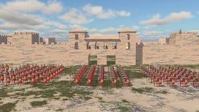 Roman militaire kamp en legionairs royalty-vrije illustratie