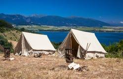 Roman military camp. HAVRANOK, SLOVAKIA - JULY 11: Roman military camp in open air museum on July 11, 2015 in Havranok Royalty Free Stock Image