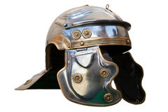 Roman military helmet. Isolated against white background Royalty Free Stock Photo