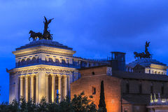 Roman monuments at nigh in Piazza Venezia, Rome. Back of The Victor Emmanuel Monument. Piazza Venezia at night , Rome, Italy Stock Photo