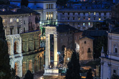 Roman monuments at nigh in Piazza Venezia, Rome. Back of The Victor Emmanuel Monument. Piazza Venezia at night , Rome, Italy Royalty Free Stock Photography