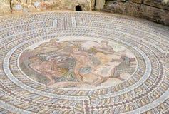 Roman Mosaic i villa av Theseus arkivfoto