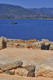 Roman mosaic and sea Stock Photo