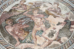 Roman mosaic of Theseus and the Minotaur. At the Villa of Theseus, Paphos Archaeological Park, Cyprus Royalty Free Stock Photo