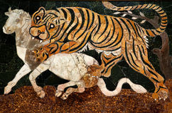 Roman Mosaic Tiger Hunting Capitoline Museum Rome Royalty Free Stock Photo