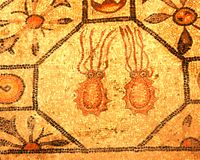 Roman mosaic of two octopus Royalty Free Stock Image