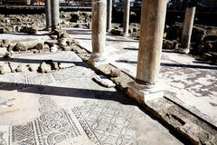 Roman mosaics, Agia Kyriaki church, Paphos,Cyprus. The 12th century church of Agia Kyriaki church with it's Roman ruins and mosaics, which stands on the site of Stock Photos