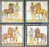 Roman mosaics of charioteers ready for a race Stock Image