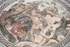 Roman mozaïek van Theseus en Minotaur royalty-vrije stock foto
