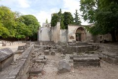 Roman necropolis (Alyscamps) in Arles, France Stock Photography