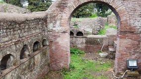 Roman necropolis columbarium graves in archaeological excavations of Ostia Antica. Rome - Italy stock video footage