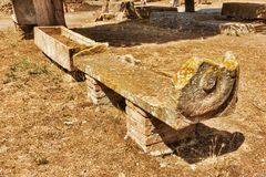 Roman Necropolis of Ostia Antica - Two sarcophaguses. In Ostia Antica - Rome , Italy Royalty Free Stock Photography