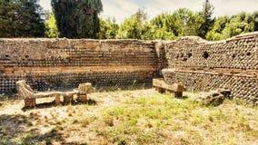 Roman Necropolis of Ostia Antica - Two sarcophaguses Royalty Free Stock Photo