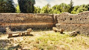 Roman Necropolis of Ostia Antica - Two sarcophaguses. In Ostia Antica - Rome , Italy Royalty Free Stock Photo