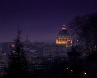 Roman Night. View of the dome of St. Peter's from the Gianicolo Hill Stock Photos