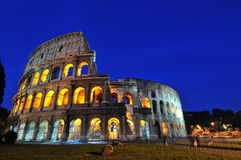 Roman nights (the Coliseum). A night image of the roman Coliseum being lit Stock Photography
