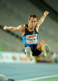 Roman Novotny of Czech Republic. In action on Long Jump Event of Barcelona Athletics meeting at the Olympic Stadium on July 22, 2011 in Barcelona, Spain Stock Photos