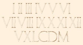 Roman numbers set. Modern Roman Classic number. With a Method of Geometrical Construction for Large letters. Font Latin Greece Antique Royalty Free Stock Photography