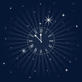 Close To Midnight, Insomnia Clock. Roman numeral clock getting close to midnight over a starry night sky vector illustration