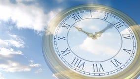 Roman numeral clock over blue sky vector illustration