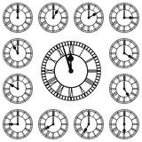 Roman Numeral Clocks Showing Every Hour. Each Hour is on a separate layer vector illustration