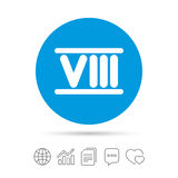 Roman numeral eight icon. Roman number eight sign. Roman numeral eight sign icon. Roman number eight symbol. Copy files, chat speech bubble and chart web icons Stock Images