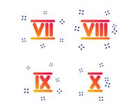 Roman numeral icons. Number seven, nine, ten. Vector. Roman numeral icons. 7, 8, 9 and 10 digit characters. Ancient Rome numeric system. Random dynamic shapes stock illustration