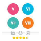 Roman numeral icons. Number five, six, seven. Royalty Free Stock Photos