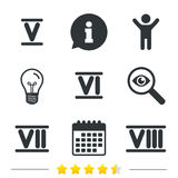 Roman numeral icons. Number five, six, seven. Stock Photography