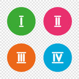 Roman numeral icons. Number one, two, three. Stock Image