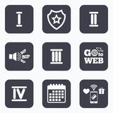 Roman numeral icons. Number one, two, three. Stock Photo