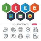 Roman numeral icons. Number one, two, three. Royalty Free Stock Image