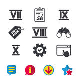 Roman numeral icons. Number seven, nine, ten. Roman numeral icons. 7, 8, 9 and 10 digit characters. Ancient Rome numeric system. Browser window, Report and Stock Image