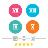Roman numeral icons. Number seven, nine, ten. Royalty Free Stock Photos