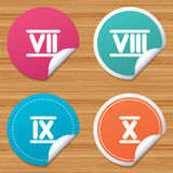 Roman numeral icons. Number seven, nine, ten. Royalty Free Stock Photography