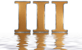 Roman numeral III, tres, 3, three, reflected on the water surfac Stock Image