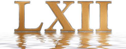 Roman numeral LXII, duo et sexaginta, 62, sixty two, reflected o. N the water surface, isolated on  white, 3d render Stock Images