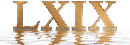 Roman numeral LXIX, novem et sexaginta, 69, sixty nine, reflecte. D on the water surface, isolated on white, 3d render Royalty Free Illustration