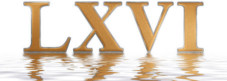 Roman numeral LXVI, sex et sexaginta, 66, sixty six, reflected o. N the water surface, isolated on white, 3d render royalty free illustration