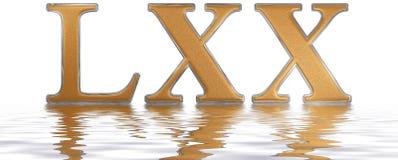Roman numeral LXX, septuaginta, 70, seventy, reflected on the wa Royalty Free Stock Images