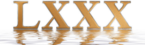 Roman numeral LXXX; octoginta; 80; eighty, reflected on the wate Stock Photography