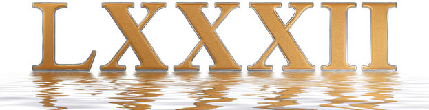 Roman numeral LXXXII, duo et octoginta, 82, eighty two, reflecte. D on the water surface, isolated on  white, 3d render Royalty Free Stock Images